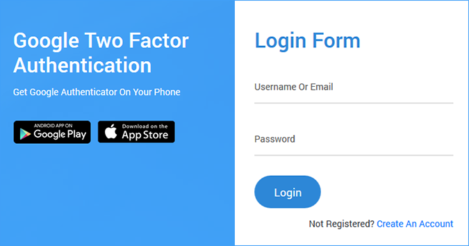 Google registration form