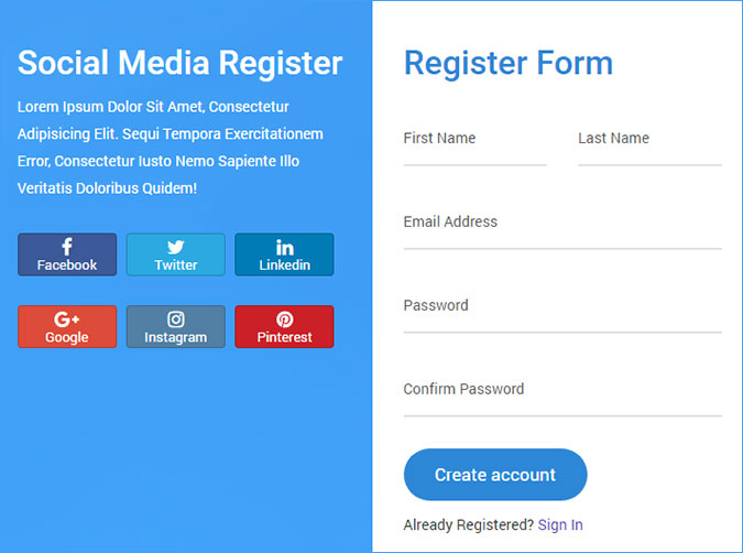 php registration form